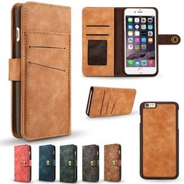 Wholesale Iphone 5s Case Retro - Retro Matte Wallet Leather Pouch Case For Iphone 7 I7 6S 6 Plus SE 5 5S Samsung Galaxy S8 S7 Edge Magnetic Detachable Card Hybrid Skin Cover