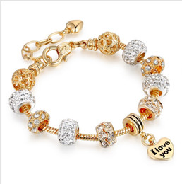 Wholesale Pandora I Love Charm - Fashion 18k Gold Plated 925 Silver Austrian Crystal Charms Beads Golden European Charm Beads I Love YouPendant Fits Pandora Diy Bracelets