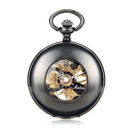 Wholesale Number Hunter - SHUHANG Brand Steampunk Mechanical Pocket Watch Roman Number Half Hunter Antiqued Black Hollow Case Promotion Item