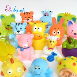 Wholesale Soft Bathtub - 20pcs lot Bath Toys Baby Bathtub Toys Cute Soft Rubber Float Jouet Squeaky Cat Fish Tiger Brinquedo Cartoon Fruit For Bath Time