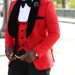 Wholesale Custom Tailor Suits - Men's Burgundy Formal Wedding Suits Jacquard 3 Piece Groomsman Best Man Tuxedos The banquet mens suits tailored red and white black and blue