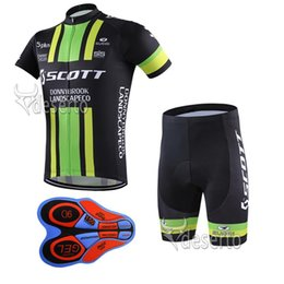 Wholesale Scott Cycling Bib Sets - New 2017 Scott Short Sleeves Cycling Jerseys Compressed With 9D Gel Padded Bib shorts set Summer Style Size S-4XL Mtb Maillot Ciclismo F2102