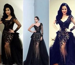 Wholesale Single Sleeve Illusion Prom - Elegant 2017 Black Single Long Sleeves Overskirt Prom Dresses Sheer Back Formal Party Gowns Evening Dresses Pageant Celebrity Dress