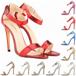 Wholesale sexy gold gladiator heels - Women Ladies Sexy Party Open Toe Ankle Straps Sandals High Heels Snake Skin Leopard Pumps Sandalias Sapatos Femininos Women Shoes D0084