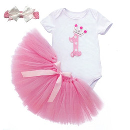 Wholesale Baby Rompers Skirt - Wholesale- 3PCS Baby Infant Girl Clothes Sets 1st Birthday Gift Headband Ball Tuttle Skirts Rompers Pink Outfit Party Romper Skirt Clothes