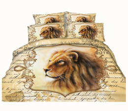 Wholesale lion print bedding set - Fashion Hot Ancient Rome Lion Head 3D Printed Bedding Sets Fabric CottonTwin Full Queen King Size Duvet Covers Pillow Shams Comforter Animal