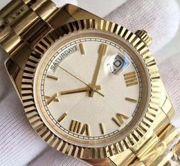 Wholesale Ct Steel - Wholesale - 2017 new 18 ct gold DAYDATE 40 self-winding mechanical movement Silver dial Fluted bezel Concealed folding Crown clasp Mens watc