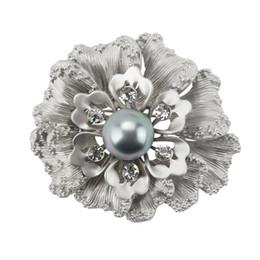 2019 flor de plata mate Al por mayor- flor de alta calidad flor de la boda Broche de pernos con perla de imitación en oro mate y plata mate plateado rebajas flor de plata mate