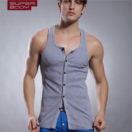 Wholesale Tight Body Sexy Underwear - Wholesale- 2016 Esquire vest men cotton sleeveless vest thread tight body sculpting underwear original design tank top men home vest