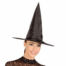 Wholesale Cool Halloween Costumes For Women - Wholesale-1pc Witch Hat Cap For Halloween Costume Accessory Party Props Party Supplies Cool Adult Women Black Fashion hot sale s2