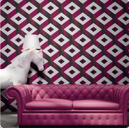 Wholesale Geometric Vinyl Wallpaper - black and red color Modern 3d vinyl wallpaper PVC wall paper roll washable wall covering Geometric wallpaper for living room bedroom
