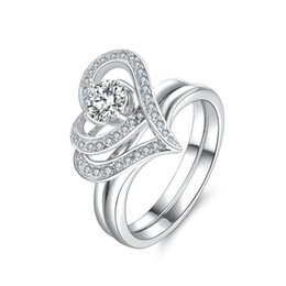 Wholesale Quality Crystal Stone Wholesale - Women Jewelry Rings Set Retro CZ Crystal Solitaire Wedding Ring Eternity Anniversary 925 Sterling Silver Ring Set Excellent Quality 2017 New