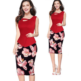 Wholesale Elegant Wear For Ladies - Women business elegant dress office lady pencil skirts summer floral printed dresses for work in classic round neck special stitched ML-D405
