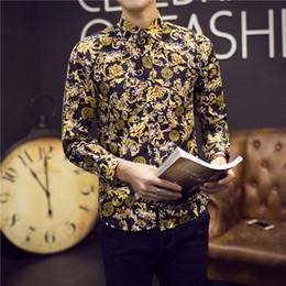 Wholesale Mens Slim Wholesale Clothes - Wholesale- 2016 Gold Pattern Shirts Mens Luxury Brand Clothing Fancy Print Camisa Social Slim Fit Floral Shirts Barocco Plus Size 5XL Club