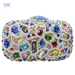 Wholesale Studded Leather Purses - Wholesale-LaiSC Dot pattern crystal evening bags women Luxury clutch prom bag studded diamond evening clutches purse party pochette SC125