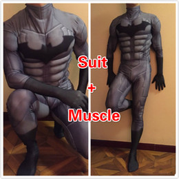 Wholesale Men S Batman Costume - High Quality Custom Made Super Hero Batman costume With Muscle Adult Men Spandex Lycra Cosplay Costume