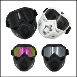 Wholesale Helmet Motorcycle For Sale - Wholesale- Hot Sales Motorcycle helmet Mask Detachable Goggles with Mouth Filter for Half Open Face Helmet & Vintage Helmets cosplay mask