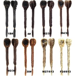 Wholesale Synthetic Clip 16 Straight - Wholesale-50cm Clip In On Braid Ponytail Drawstring Fishtail Plaited Pony Tail Synthetic Hair Extensions 16 Colors (JACEN HAIR) FSP-666