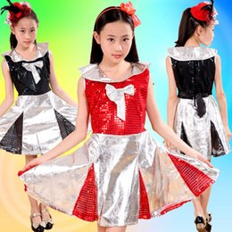 Wholesale Modern Dance Dress Costumes - Hot 2017 new girl dance dress princess skirt modern dancing sequins dress costume party dress flower girl host children's clothing free sho