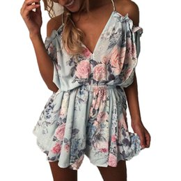 Wholesale Bohemian Halter - Summer 2017 Sexy V Neck Halter Strap Playsuit Bohemian Beach Casual Rompers Womens Jumpsuit Short Loose Pant Bodysuit Overalls
