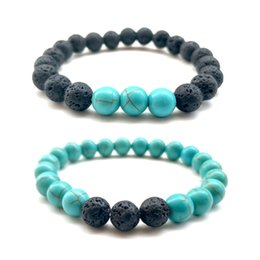 Wholesale Turquoise Jewelry Bracelet Charm Bead - 2018 Hot Lava Rock Beads Bracelets 8 mm Fashion Natural Stone Charm Jewelry Weathering Stone Cuffs Bangles 2 Styles Turquoise Bracelet