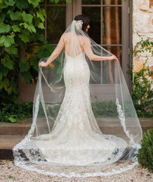 Wholesale Bridal Lace Cathedral Veil - Single Tier Partial Lace Trim at Bottom Wedding Veil 2017 Cathedral Country Style Bridal Veil with Comb Wedding Accessories T-37
