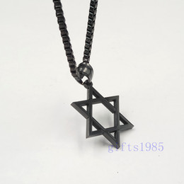 Wholesale David Star Pendant Necklaces - Black charm Star of David pendant stainless jewelry classic design box necklace