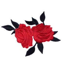 Wholesale Embroidered Bags Handmade - Cute Colorful Rose Applique Flowers Patch Embroidered Sew Iron on Clothes Bags Handmade DIY Craft Ornament Fabric Sticker