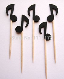 Wholesale Cheap Baby Showers Favors - cheap Black Musical Note Party Picks - Cupcake Toppers - Food Picks wedding baby shower birthday party favors Party Decoration
