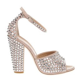 Wholesale Sexy Stud Dress - 2017 fashion peep toe women chunky heel spike stud sandals sexy party shoes rivets high heels gladiator sandals