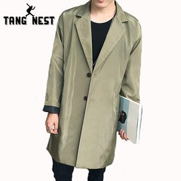 Wholesale Male Trench Coat Sale - Wholesale- TANGNEST 2017 Autumn Fashion Long Trench Coat Men Hot Sale Casual Slim Jacket Male Solid Color All-matched Windbreaker MWF294