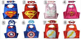 Wholesale Dhl Free Shipping Children Clothes - DHL free shipping Children Superhero Capes and mask Double Side 2pcs set Kids Halloween party Cosplay Clothes 70*70cm