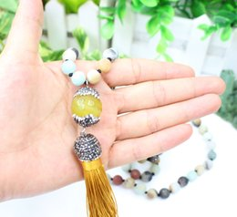 Wholesale Natural Jade Beads Necklace - 8mm dia natural color amazonite gemstone beads and rhinestone beads necklace with artificial jade tassel pendant necklace