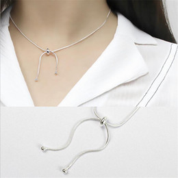 sterling silver choker collar Coupons - New Fashion 925 Sterling Silver Snake Chain Ball Adjustable Necklaces For Women Girls White Gold Plated Choker Collar Jewelry