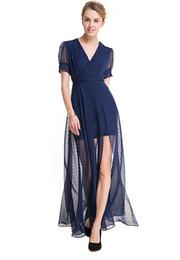 Wholesale Sexy Polka Dot Dress - Fashion women party dress lady vintage polka dot dress in long slip sexy V neck short sleeve sheer design ML-8204