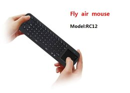 Wholesale Rc12 Fly Mouse - Wholesale Touchpad Fly Air Mouse RC12 2.4G Wireless Keyboard Gyroscope Game Handheld Remote Control for Android Mini PC TV Palyer Box Stick