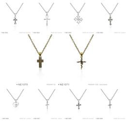 Wholesale Large Pendant Cross Wholesale - Antique Silver Jewelry Large Ankh Rose Heart Cross Trust God Cross Charm pendants Chain Necklaces Birthday Women Platinum Metal Necklaces