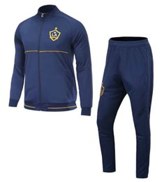 Wholesale Galaxy Trousers - 17 18 LA Galaxy soccer tracksuits thai quality full sleeve football jacket suits outdoor training suits adult's sports sets casual trousers