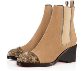 Wholesale Tan Ladies Pumps - Best Quality luxury Design Loubs Women Ankle Boots Red Bottom Boot Ladies Pumps Otaboo 70mm Genuine Leather Spikes Shoes