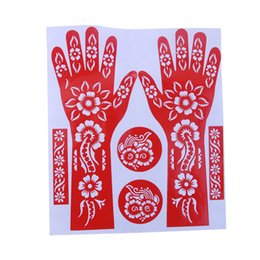 Wholesale Temporary Tattoo Stencil Sheets - Wholesale- 1 Sheet Hot India Henna Temporary Tattoo Stencils For Hand Leg Arm Feet Body Art Decal 23*27cm