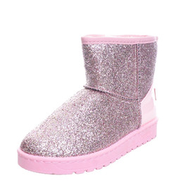 Wholesale Thick Heeled Ankle Boots - New Fashion Bling Glitter Snow Boots Women Thick Fur Warm Flat Platform Cotton Sequined Cloth Ankle Boots Winter Shoes