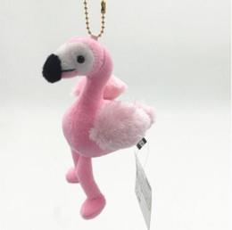 Wholesale Flamingo Accessories - 15cm Flamingo Keychains Pendant Women Bag Purse Keychain Key Holder Chuzzle Charm Handbag Car Pendant Accessories CCA7823 30pcs