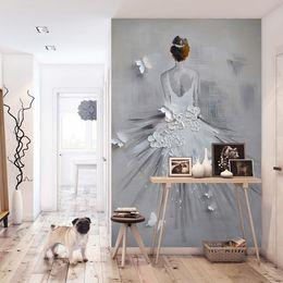 3D Zarif Duvar Kağıdı Bale dansçı Duvar resmi Özel 3D Fotoğraf Kağıdı Yatak Odası Oturma odası Gelinlik dükkanı yağlıboya Sanat Odası Dekor nereden