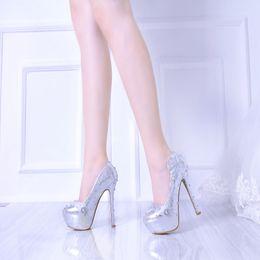 Wholesale Elegent Shoes - 2017 Elegent Lady Silver Lace Stiletto Genuine Leather High Heels Colorful Rhinestone Decoration Bridal Wedding Shoes Party Proms Women