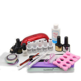 Wholesale Manicure Set Black - Wholesale- LULAA Nail tools 9W UV GEL Lamp & 5 Color UV Gel Practice Fingers Cutter Nail Art Tool Kit Set #001set manicure set