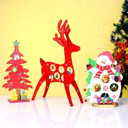 Wholesale Wholesale Wood Thins - Cute Christmas Window Tabletop Decorations Wood Christmas Gifts Tree Train DIY Deer Shaped Wooden Decor Xmas Ornaments