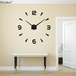 Stickers miroirs grand en Ligne-Gros-Home Decor 3D grande taille mur miroir autocollant horloge murale BRICOLAGE acrylique miroir autocollant horloge murale salon salle de réunion