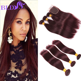 Wholesale High Quality Malaysian Virgin Hair - High Quality 99j Malaysian Virgin Hair With Closure Remy Human Hair Weaves And Closure 3 Bundles With Closure Free Middles  Three Part