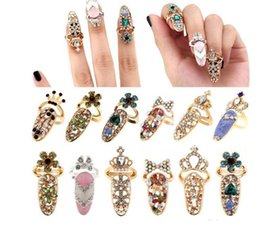 Wholesale Nails Art Charms - Fashion Rhinestone Cute Bowknot Finger Nail Ring Charm Crown Flower Crystal Female Personality Nail Art Rings