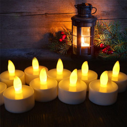 Wholesale Battery Operated Tea Light Candle - Flickering Flicker Flameless LED Tealight Tea Candles Light Battery Operated Electric candle Wedding Birthday Party Christmas Decoration